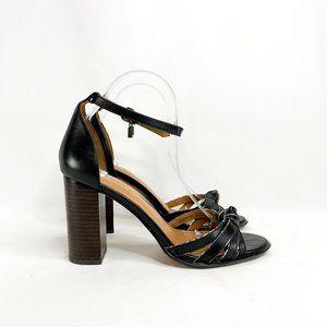 COACH Kiki Block-Heel Sandals Snakeskin Trim